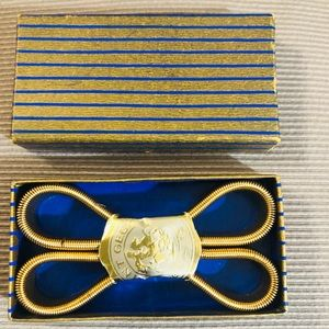 Vintage Gold Armbands in Gold and Blue Stripe Box